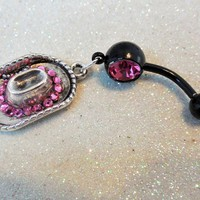 Belly button ring w pink crystal Cowgirl hat and pink crystals 14ga
