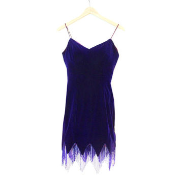 "VTG Purple Velvet Flapper Style Dress With Bead Fringe | 1920s 20s Women's Halloween Costume | Sz 28"" Waist 