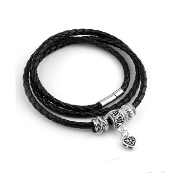 Silver Charm Black Leather Bracelet for Women