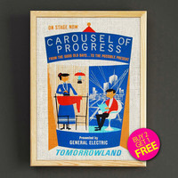Vintage Disnyland Tomorrowland Carousel of Progress Poster Attraction Print Home Wall Decor Gift Linen Print - Buy 2 Get 1 FREE - 356s2g
