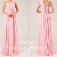 womens pink dresses, blush pink dress, pink prom dress, one shoulder dress, long prom dress, RE185