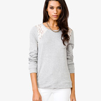 Lace Trim French Terry Pullover