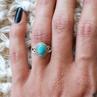 Unchain My Heart Oval Ring- Turquoise -