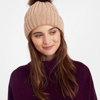 Pop-a-pom Oat Bobble Hat , Size One Size | Joules UK