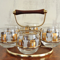 Mid-Century Glassware Set, Fred Press Low Ball Glasses with Wood and Metal Holder, Roly Poly Glasses, Vintage Barware