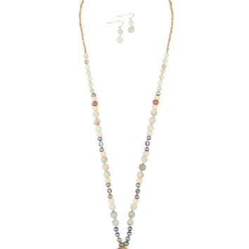 Double Circle Multibeaded Necklace & Earring Set