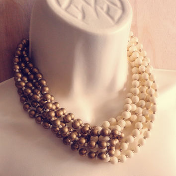 Vintage Beaded Ivory and Gold Necklace