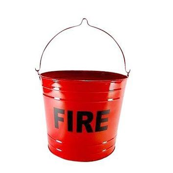 BIG Primitive Fire Bucket Can FLAT BOTTOM RED PAIL Ashtray