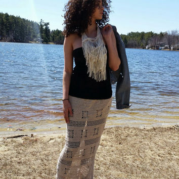 Maxi Skirt,  Crochet, Festival Clothes, Bohemian, Retro, Plus Size, Vegan,  Long Skirt, Coachella