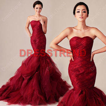 Long Strapless Mermaid Red Wedding Dress - Red Mermaid Wedding Dresses / Cheap Mermaid Bridal Dress / Red Bridal Gown