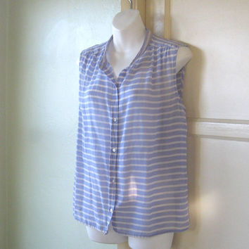 French Blue Stripe Sleeveless Shirt - Women's Large Blue/White Striped Sleeveless Cotton Blouse