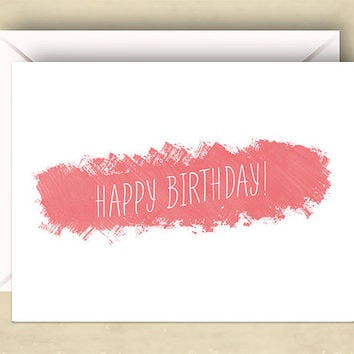 Happy Birthday Card, 4.25 x 5.5 Inch (A2), Two Options: Pink or Blue, Cards for Friends, Cards for Her, Cards for Him