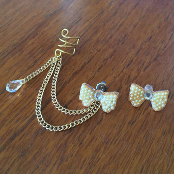 Gold White Bow Crystal Ear Cuff Earring Set