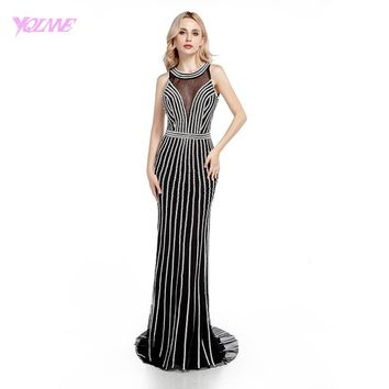 YQLNNE Luxury Black Mermaid Crystals Long Prom Dresses Fashion Women Party Dress Backless Vestido De Festa