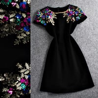 Black Colored Sequins Short Sleeve Mini   Dress
