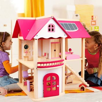 Wooden Dollhouse Furniture Toy Set Doll House