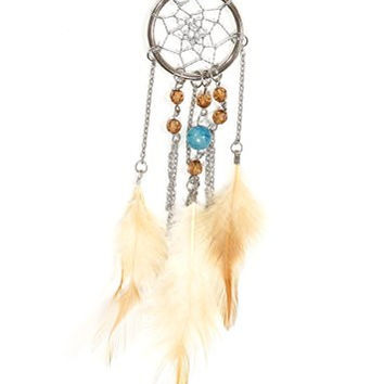 Dreamcatcher Necklace Silver Tone Beaded Chain Native Style NP23 Feather Fashion Jewelry