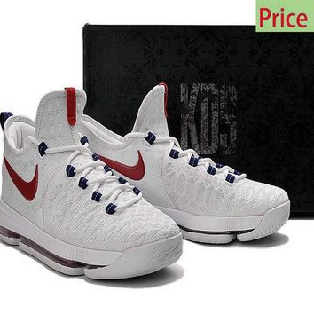 new concept 6dd6b 31b72 Really Cheap Big Boys Youth KD 9 Flyknit USA White Red shoe