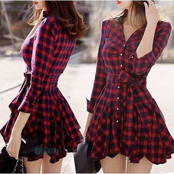 Womens Casual Cool Plaid Checker Sleeve Dress