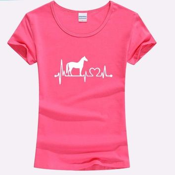 Heartbeat Pink Funny Horse Shirt