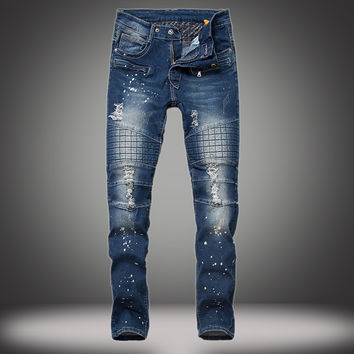 Ripped Holes Stretch Slim Fashion Club Jeans [10366811971]