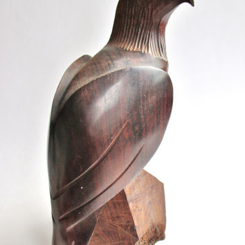 Vintage WOOD CARVING of an EAGLE/ Rosewood or Zebrawood/ Quality Hand Made Sculpture/ Mid Century Decor