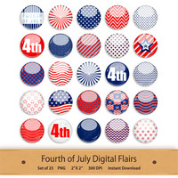 Scrapbook Digital Flair Fourth of July 4th Button Element Clipart Brad Printable Stickers Patriotic America Flag Art Stars Red White Blue