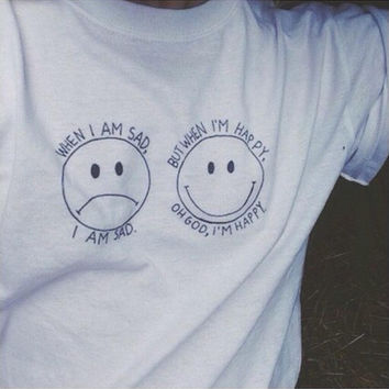 White Sad and Happy Emoticon Print Short Sleeve T-Shirt