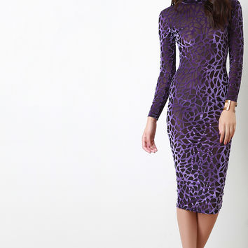 Contrast Burn Out Velvet Mesh Bodycon Dress