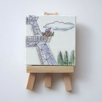 Bird's Nest on the Eiffel Tower Original Acrylic Painting on a Mini Canvas