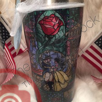 Beauty and the Beast Stained Glass Fabric Tumbler,finish in Epoxy finish (20 oz Shown)
