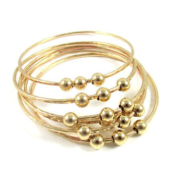 3 Gold Hammered Bangles, Gold or Silver Beads, Thick, Elegant, Textured Bracelet, Mothers Day Gift Idea, Handmade Minimalist Jewelry