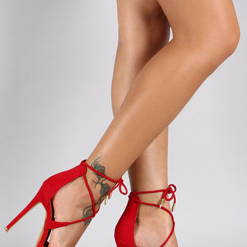 Shoe Republic LA Suede Ankle Tie Pointy Toe Pump