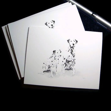 Dalmatian Note Cards Black and White Canine Drawing Dog Pencil Art Greeting card Blank Thank You set of 6 cards