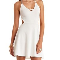 Super Strappy Cut-Out Backless Skater Dress - White