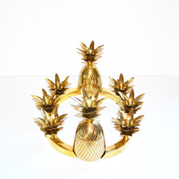 Vintage Brass Pineapple Candle Holders Table Centerpiece Hollywood Regency Brass Pineapple Box Centerpiece Set Oval Pineapple Ananas Pina