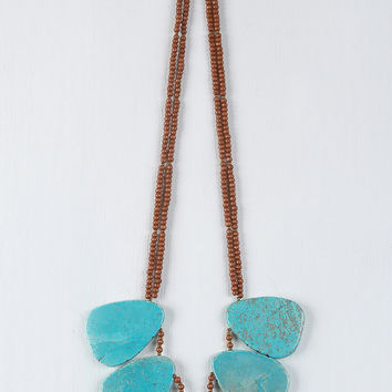 Beaded Turquoise Stone Necklace