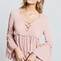 Cage-Front Ruffle Trim Top