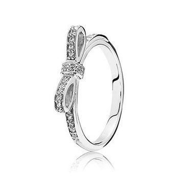 Butterfly Rings Jewelry Sparkling bow clear cz 100% 925 Sterling Silvers Fit Pandora r