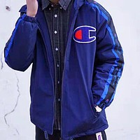 Champion & Supreme Fashion New Bust Logo And Sleeve String Mark Back Letter Print Keep Warm Coupel Long Sleeve Top Coat Cotton Clothing Sapphire Blue