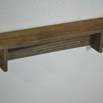 "Natural wood wall shelf 19"" x 4"" with awesome wavy grain handcrafted in the USA"
