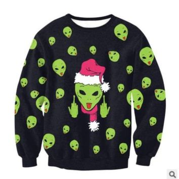 UGLY CHRISTMAS SWEATER - F U Alien