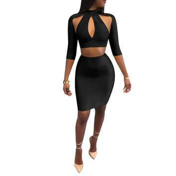 Black Regular A-Line Short Skirt Two Piece Dress
