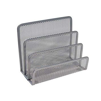 VANRA Small Letter Sorter Desktop File Holder Organizer Metal Mesh with 3 Vertical Upright Compartments Black