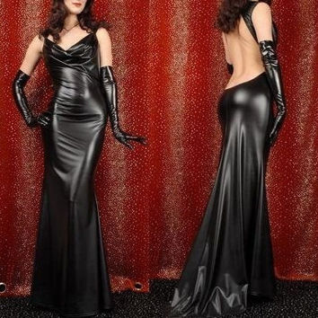 Women's Adult Costume Gothic Wetlook Long Dress Gown Open Back Evening NIghtout Pary wear (Size: M, Color: Black) = 1955595972