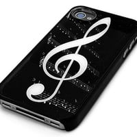 Black Snap-on Iphone Cover Case for 4/4s Iphone - G-clef Music Note- Height:4.5 Inches X Width: 2.5 Inches X Thickness:0.5 Inches.