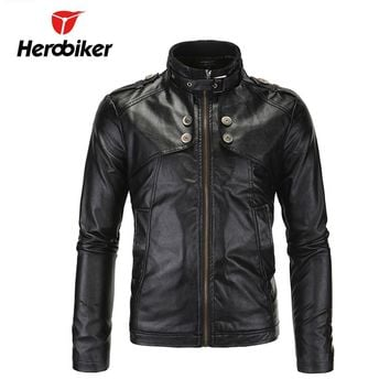 HEROBIKER Chaqueta Motorcycle Jackets Men Vintage Retro PU Leather Jaqueta Racing Punk Classical Casual Windproof Moto Jacket