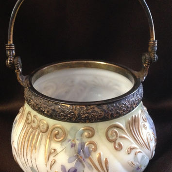 Antique Mt Washington Sugar Bowl ~ Violets & Ferns ~ Gold Wash ~ #2038