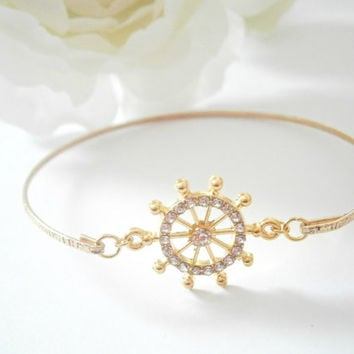 Ship Wheel Bracelet - Gold Nautical Bangle - Steering Wheel Bangles - Sailing Jewelry - Beach Weddings - Rhinestone Jewellery - Boat Wheel