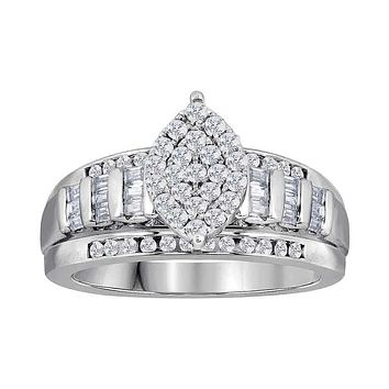 10kt White Gold Women's Round Diamond Oval Cluster Bridal Wedding Engagement Ring 3.00 Cttw - FREE Shipping (US/CAN)